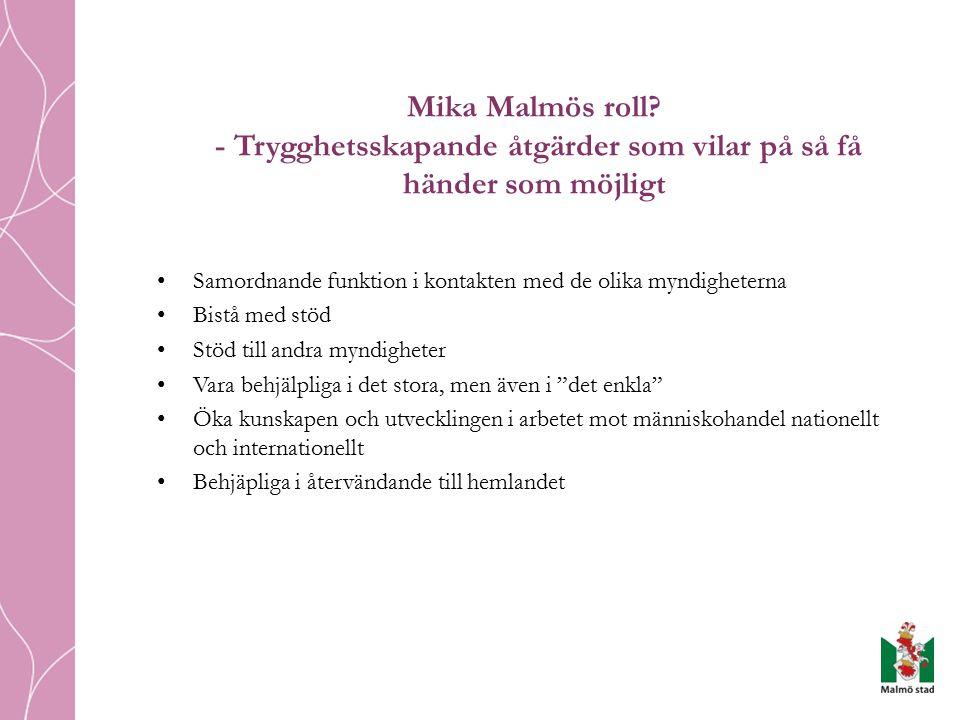 Mika Malmös roll - Trygghetsskapande åtgärder som vilar på så få händer som möjligt