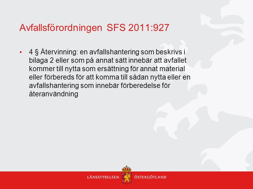 Avfallsförordningen SFS 2011:927
