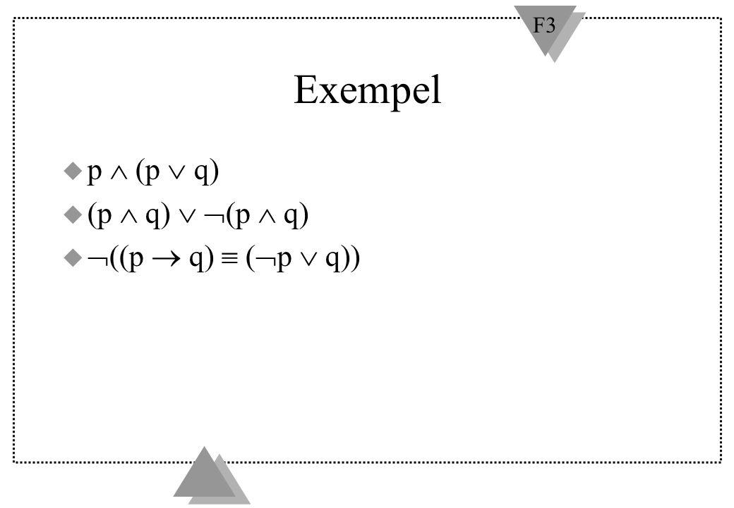 Exempel p  (p  q) (p  q)  (p  q) ((p  q)  (p  q))