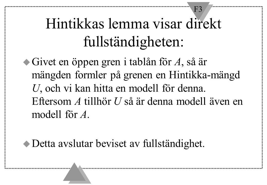 Hintikkas lemma visar direkt fullständigheten: