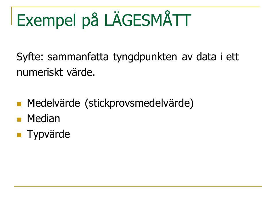 Exempel på LÄGESMÅTT Syfte: sammanfatta tyngdpunkten av data i ett