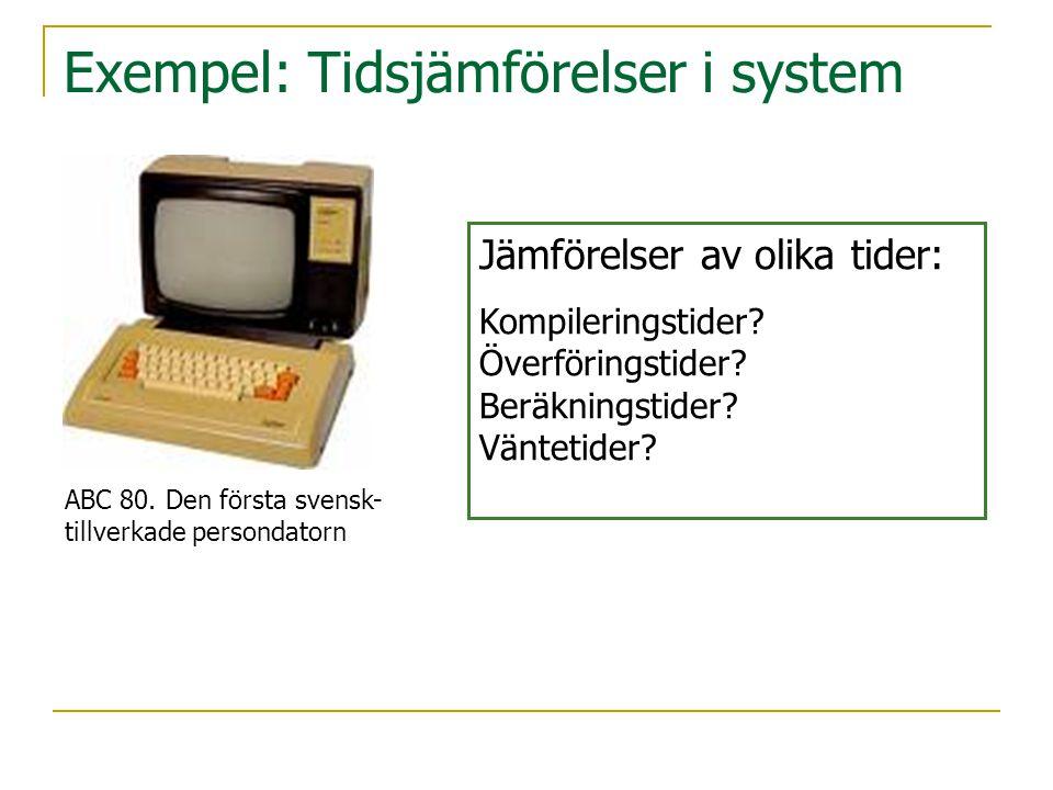 Exempel: Tidsjämförelser i system