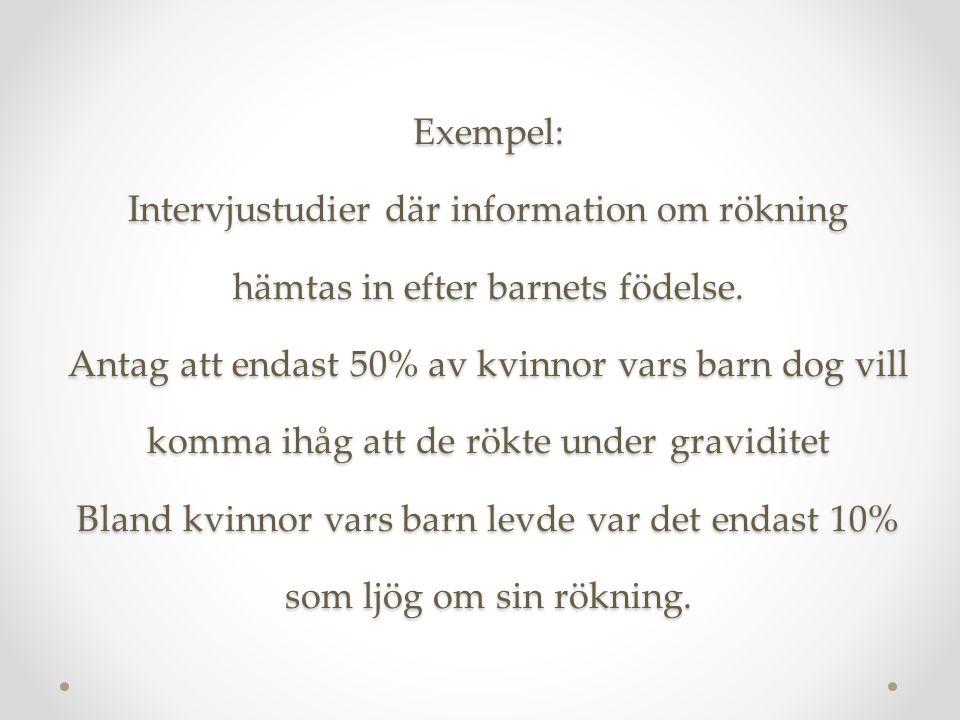 Exempel: Intervjustudier där information om rökning hämtas in efter barnets födelse.