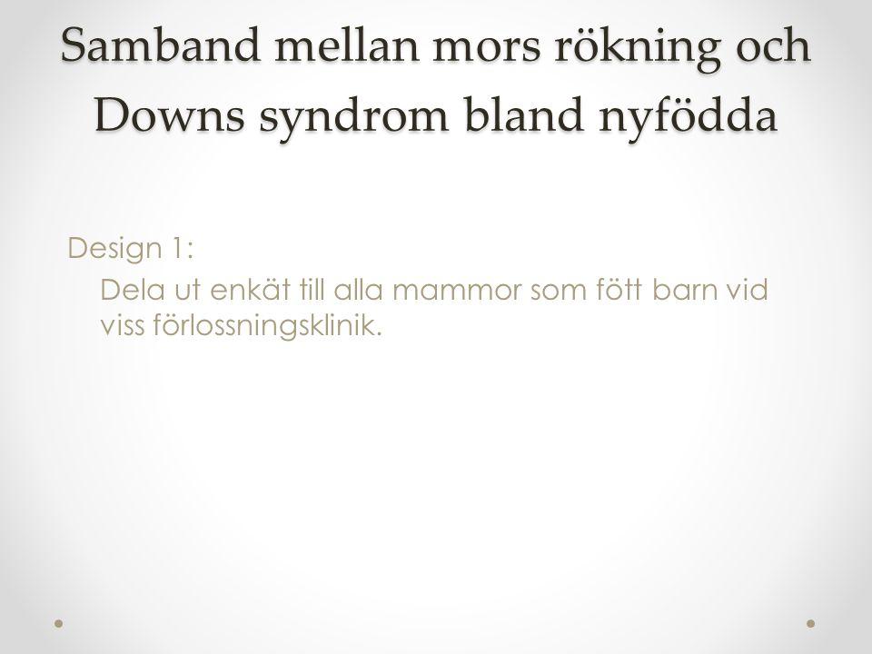 Samband mellan mors rökning och Downs syndrom bland nyfödda