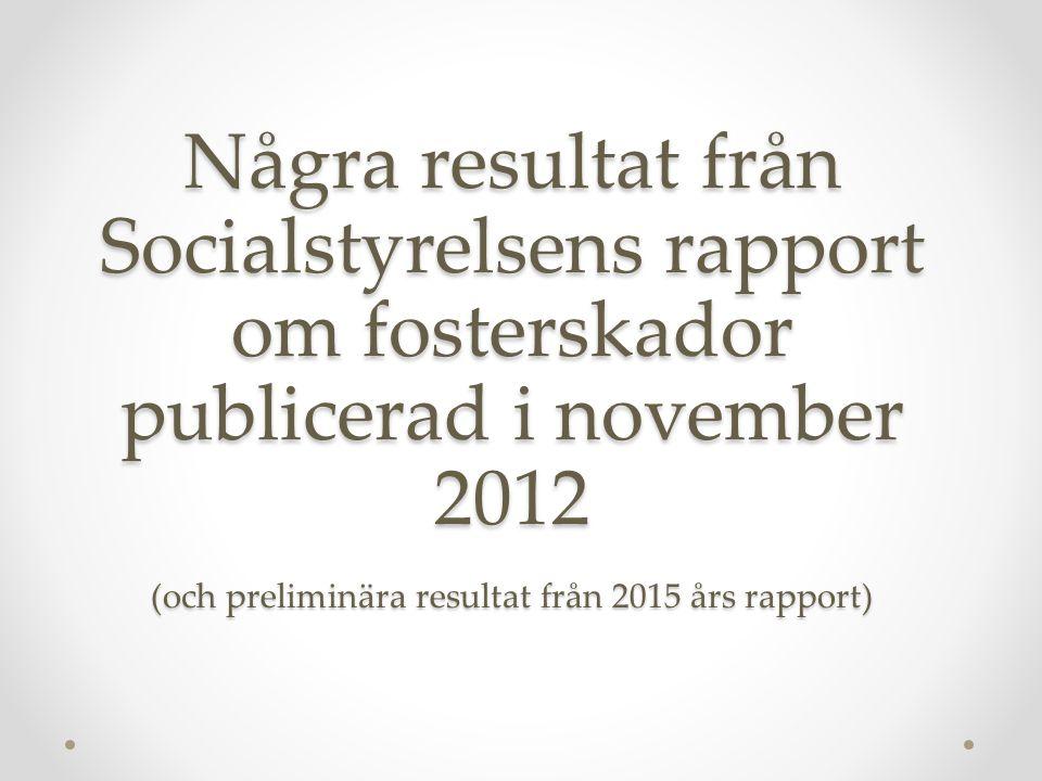 Några resultat från Socialstyrelsens rapport om fosterskador publicerad i november 2012 (och preliminära resultat från 2015 års rapport)