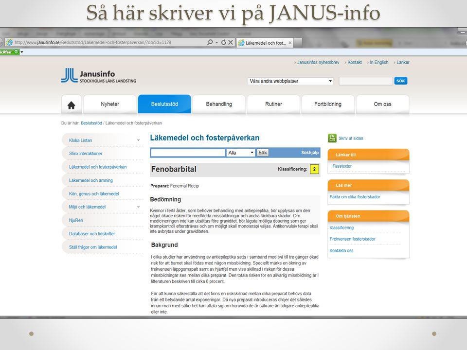 Så här skriver vi på JANUS-info