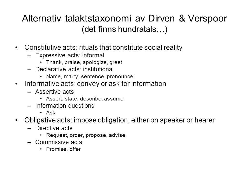 Alternativ talaktstaxonomi av Dirven & Verspoor (det finns hundratals…)