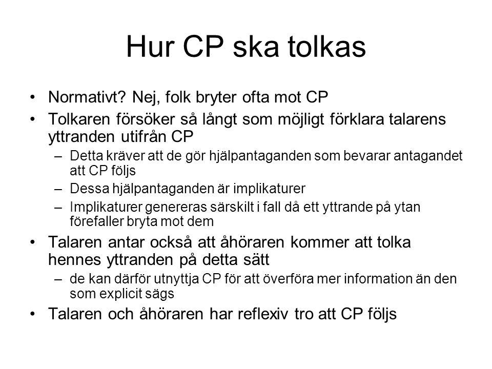 Hur CP ska tolkas Normativt Nej, folk bryter ofta mot CP