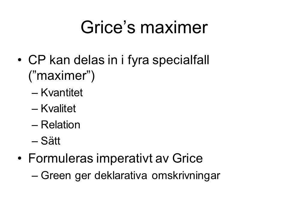 Grice's maximer CP kan delas in i fyra specialfall ( maximer )
