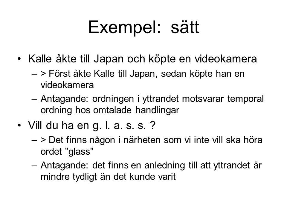Exempel: sätt Kalle åkte till Japan och köpte en videokamera