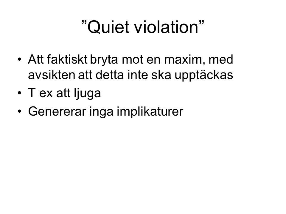 Quiet violation Att faktiskt bryta mot en maxim, med avsikten att detta inte ska upptäckas. T ex att ljuga.