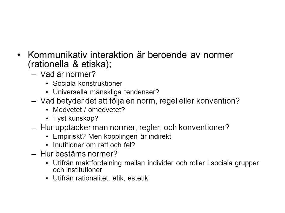 Kommunikativ interaktion är beroende av normer (rationella & etiska);
