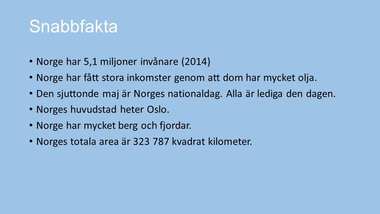 Snabbfakta Norge har 5,1 miljoner invånare (2014)