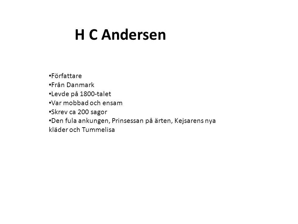 H C Andersen Författare Från Danmark Levde på 1800-talet