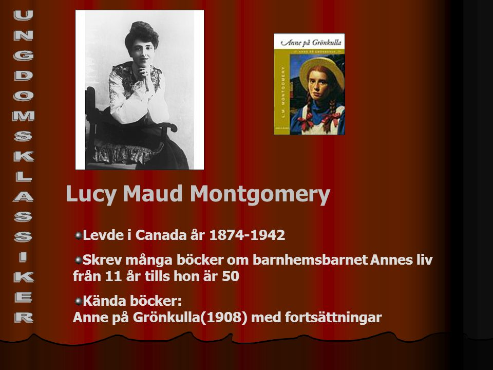 UNGDOMSKLASSIKER Lucy Maud Montgomery Levde i Canada år 1874-1942