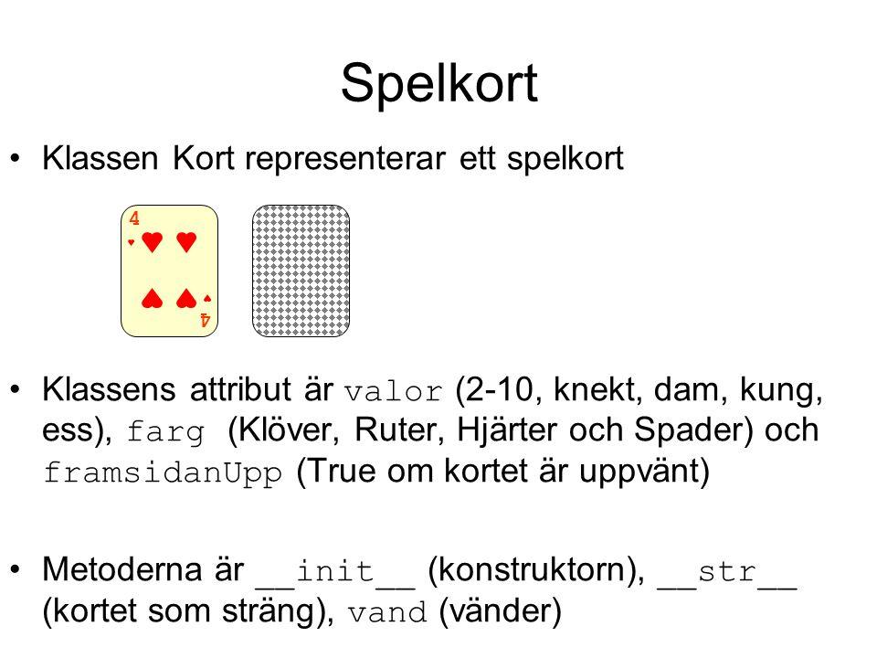 Spelkort Klassen Kort representerar ett spelkort