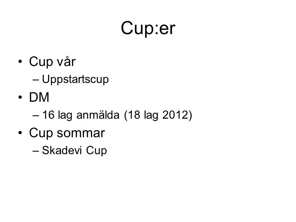 Cup:er Cup vår DM Cup sommar Uppstartscup 16 lag anmälda (18 lag 2012)