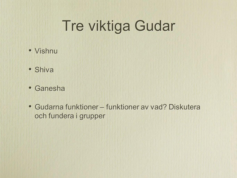 Tre viktiga Gudar Vishnu Shiva Ganesha
