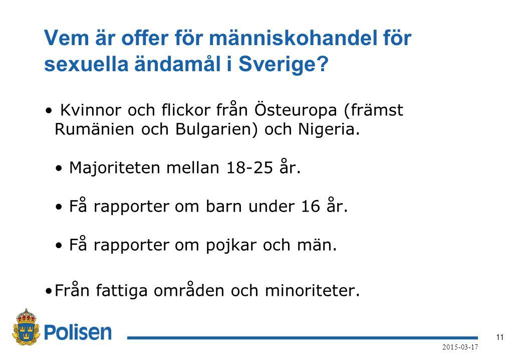 Vem är offer för människohandel för sexuella ändamål i Sverige