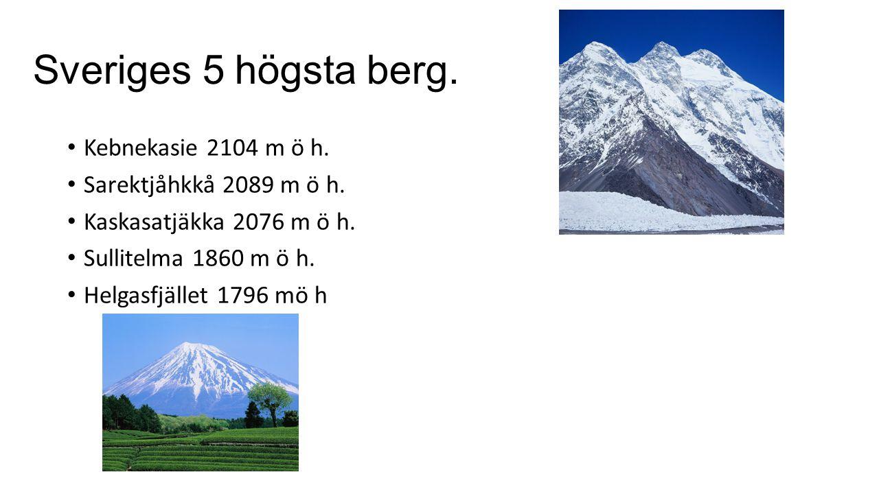 Sveriges 5 högsta berg. Kebnekasie 2104 m ö h.