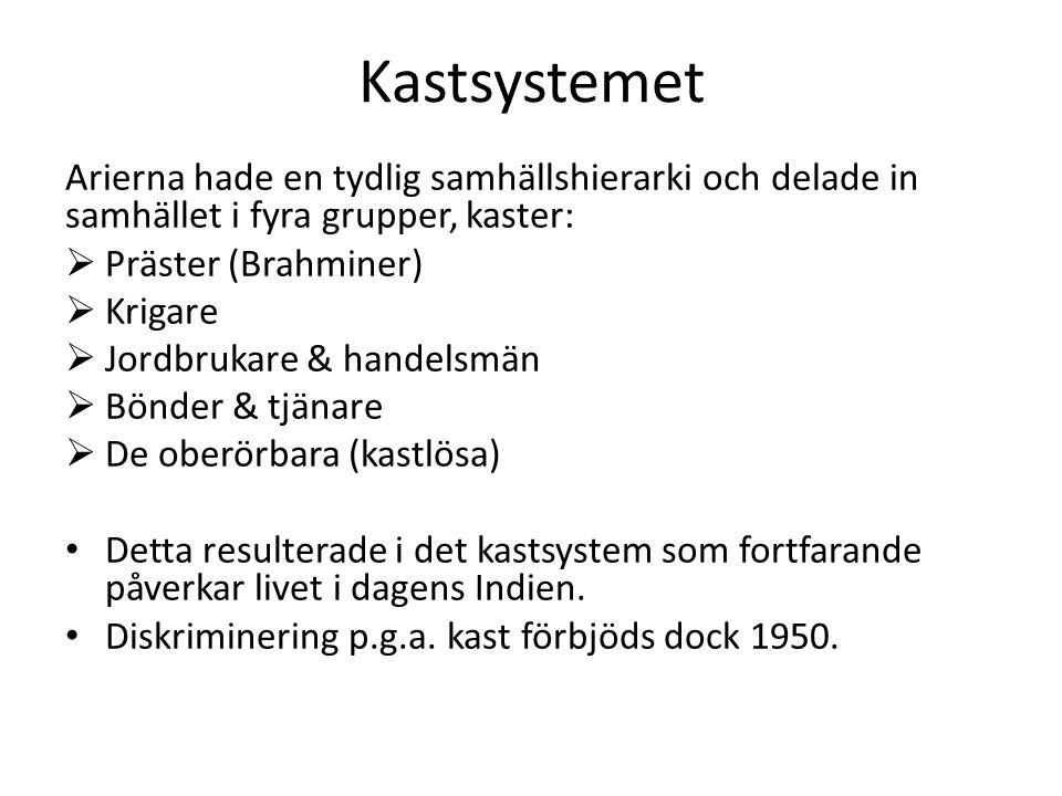 Kastsystemet Arierna hade en tydlig samhällshierarki och delade in samhället i fyra grupper, kaster: