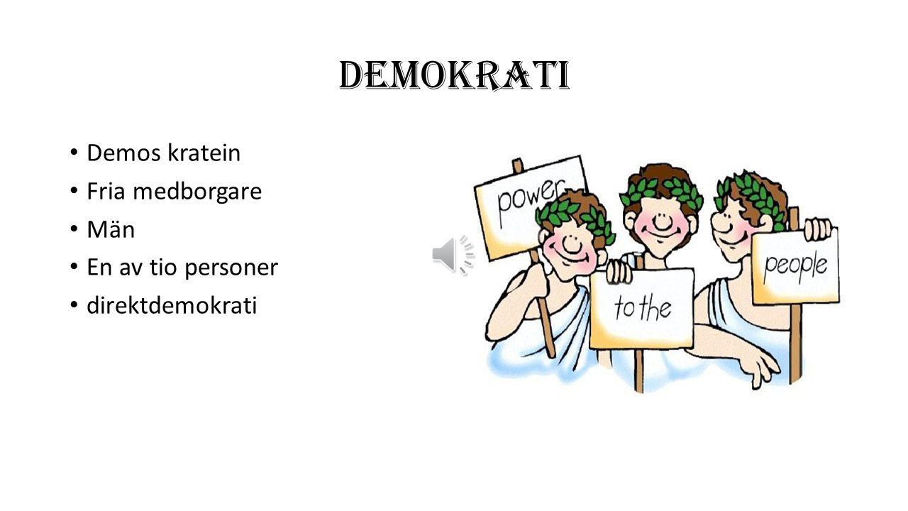 DEMOKRATI Demos kratein Fria medborgare Män En av tio personer