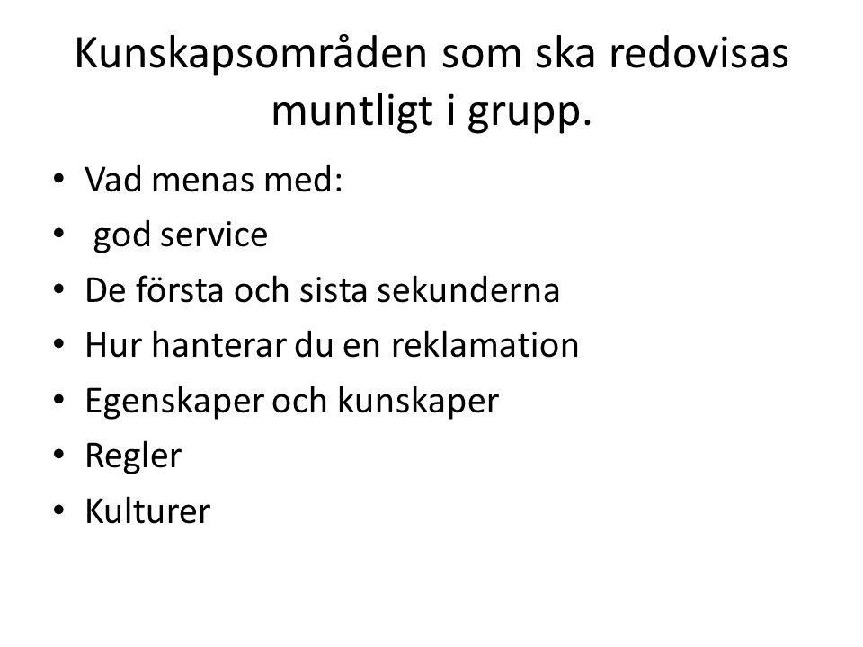 Kunskapsområden som ska redovisas muntligt i grupp.