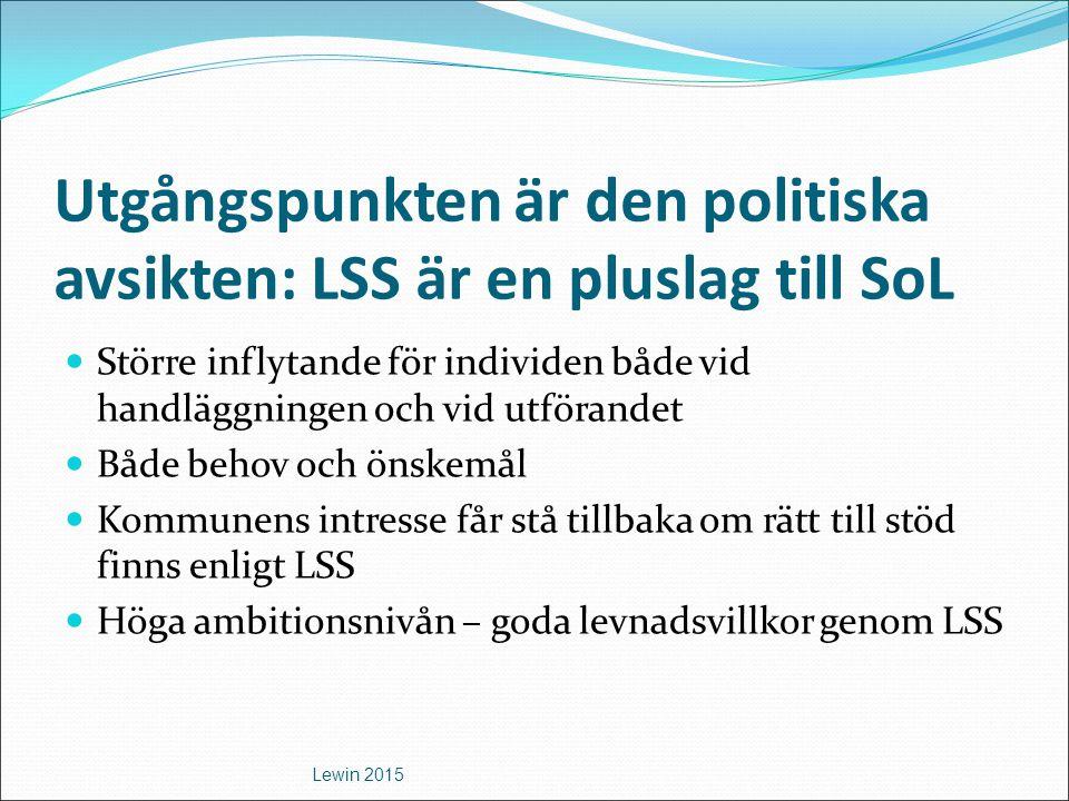 Utgångspunkten är den politiska avsikten: LSS är en pluslag till SoL