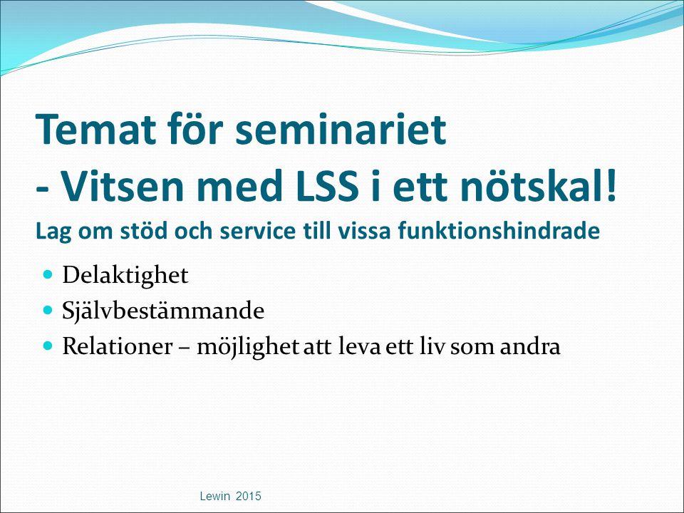 Temat för seminariet - Vitsen med LSS i ett nötskal