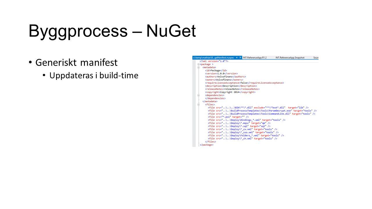 Byggprocess – NuGet Generiskt manifest Uppdateras i build-time