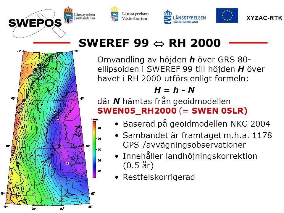 SWEREF 99  RH 2000 Omvandling av höjden h över GRS 80-ellipsoiden i SWEREF 99 till höjden H över havet i RH 2000 utförs enligt formeln: