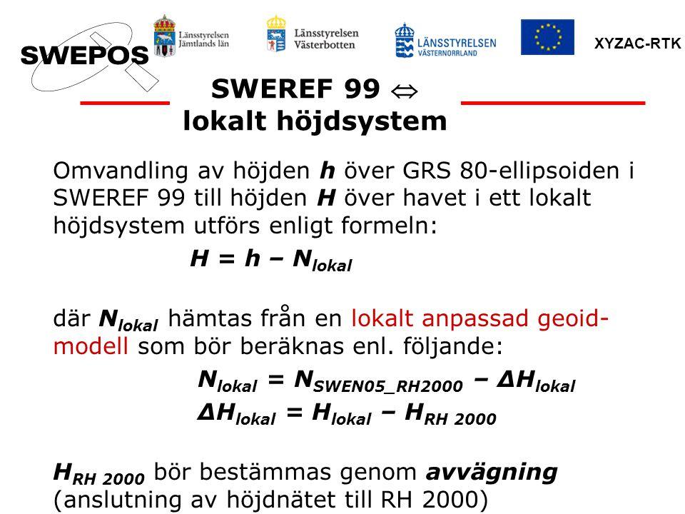 SWEREF 99  lokalt höjdsystem