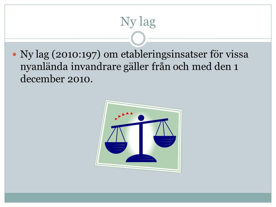 Ny lag Ny lag (2010:197) om etableringsinsatser för vissa nyanlända invandrare gäller från och med den 1 december 2010.