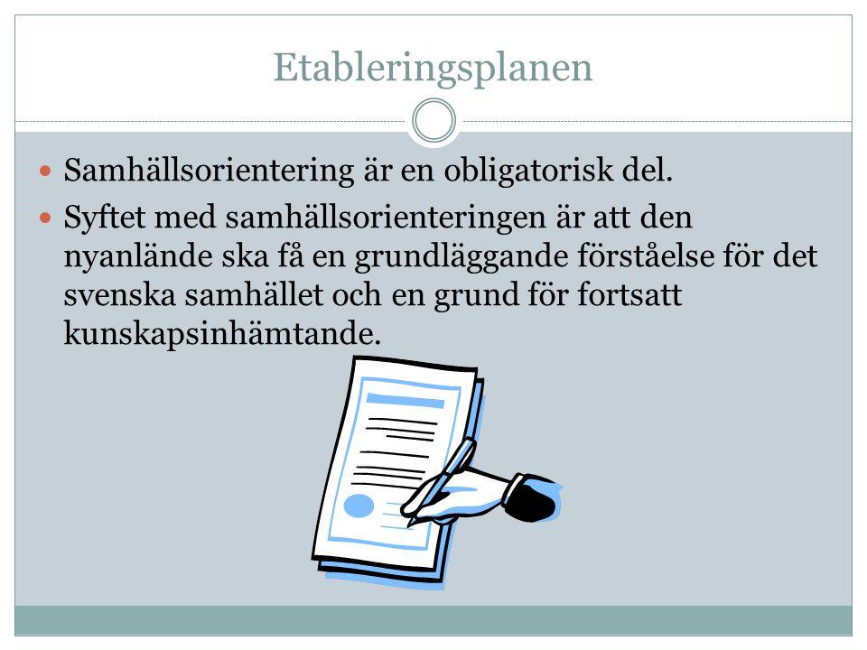 Etableringsplanen Samhällsorientering är en obligatorisk del.