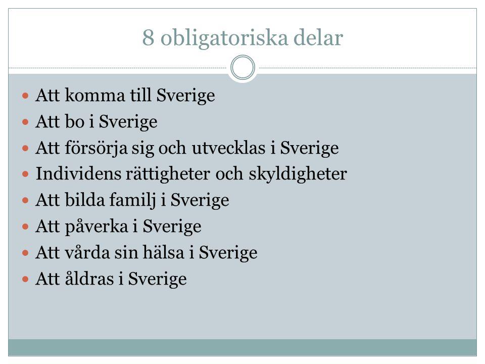 8 obligatoriska delar Att komma till Sverige Att bo i Sverige