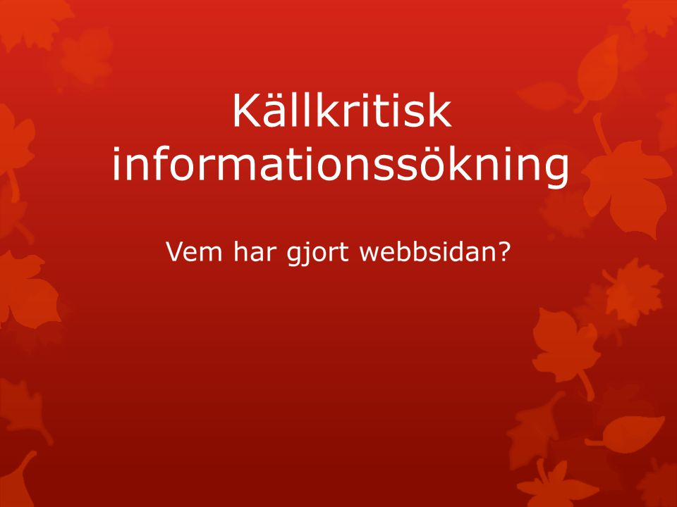 Källkritisk informationssökning