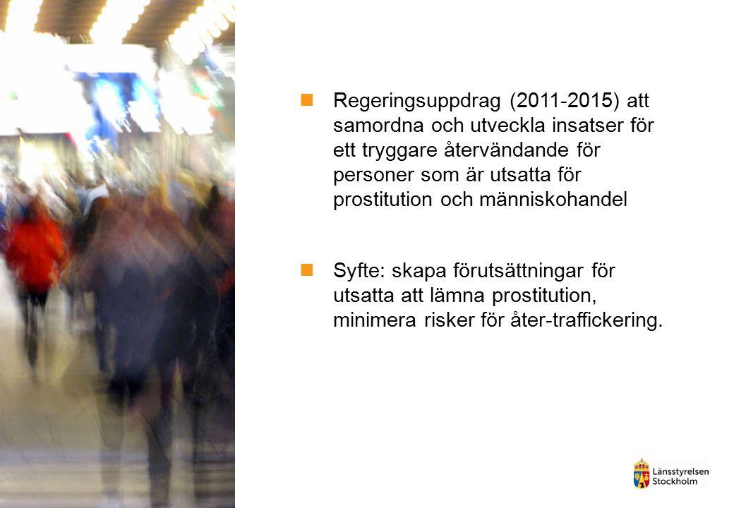 Regeringsuppdrag (2011-2015) att samordna och utveckla insatser för ett tryggare återvändande för personer som är utsatta för prostitution och människohandel
