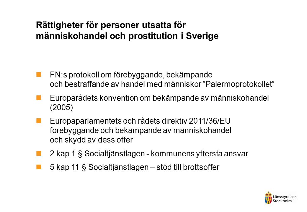 Rättigheter för personer utsatta för människohandel och prostitution i Sverige