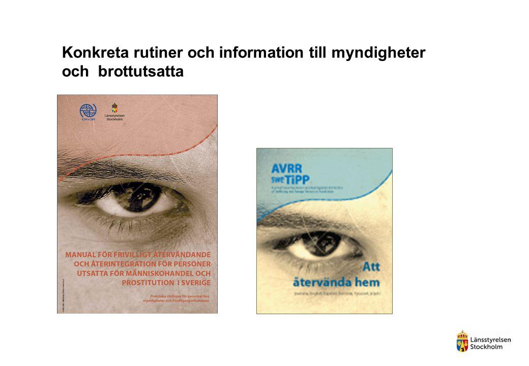 Konkreta rutiner och information till myndigheter och brottutsatta