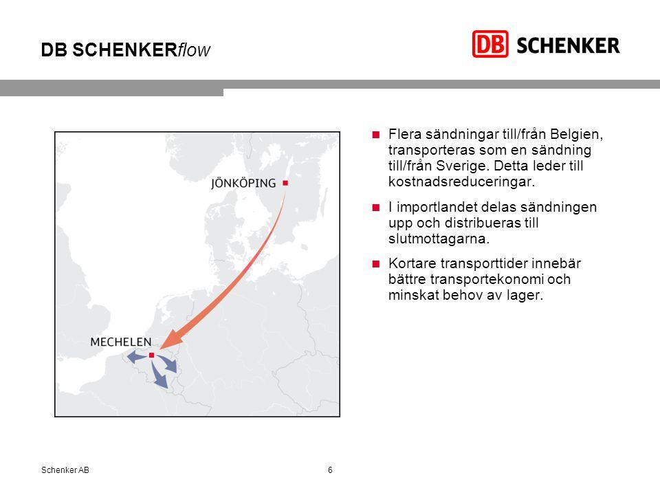 DB SCHENKERflow Flera sändningar till/från Belgien, transporteras som en sändning till/från Sverige. Detta leder till kostnadsreduceringar.