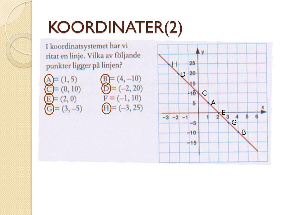 KOORDINATER(2) • H • D • F • C • A • E • G • B