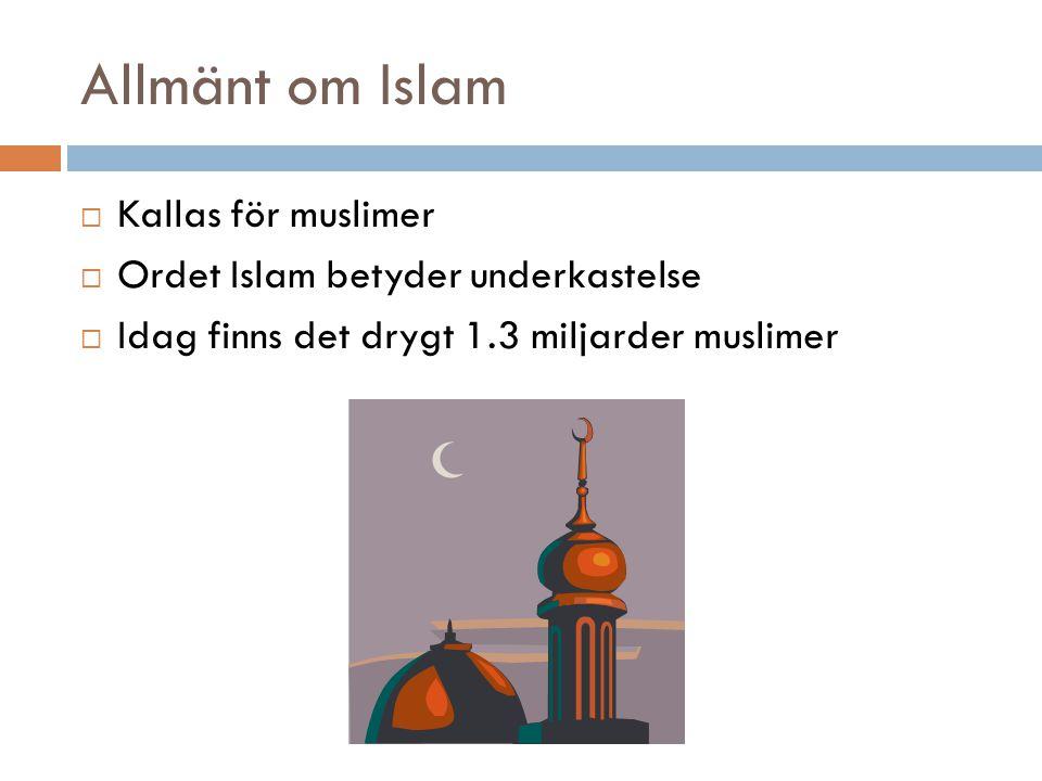 Allmänt om Islam Kallas för muslimer Ordet Islam betyder underkastelse
