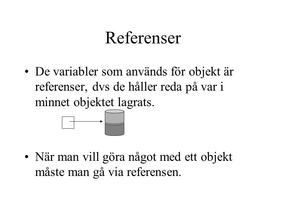 Referenser De variabler som används för objekt är referenser, dvs de håller reda på var i minnet objektet lagrats.