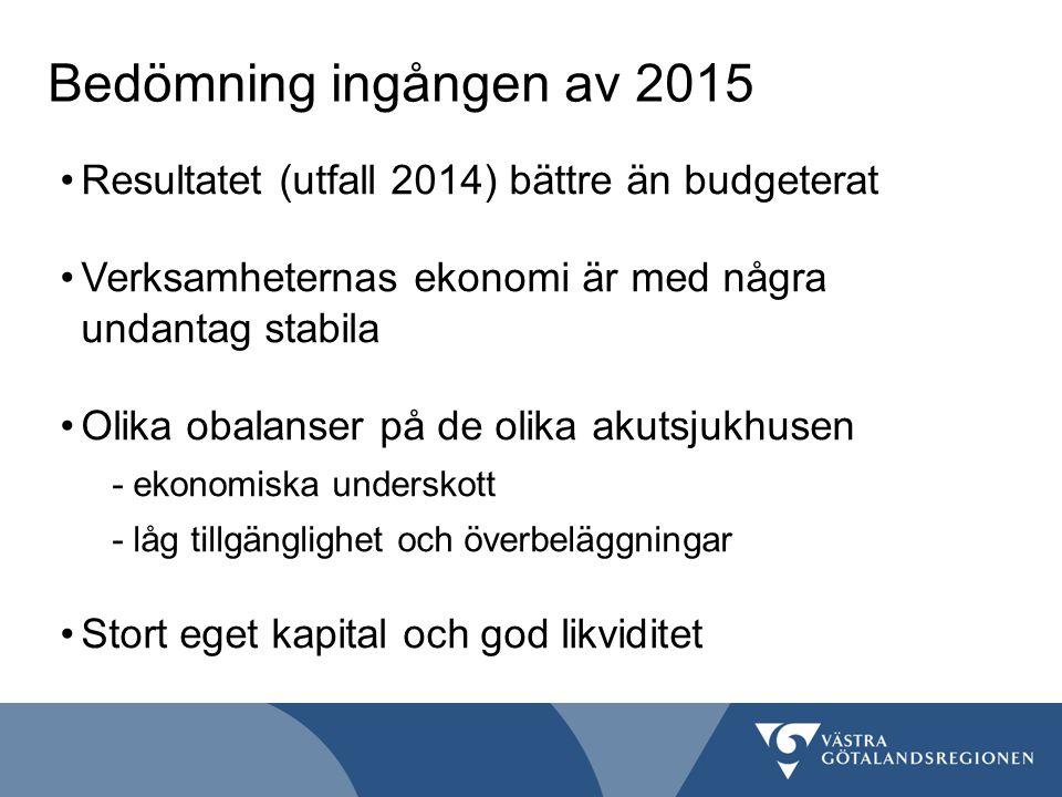 Bedömning ingången av 2015 Resultatet (utfall 2014) bättre än budgeterat. Verksamheternas ekonomi är med några undantag stabila.