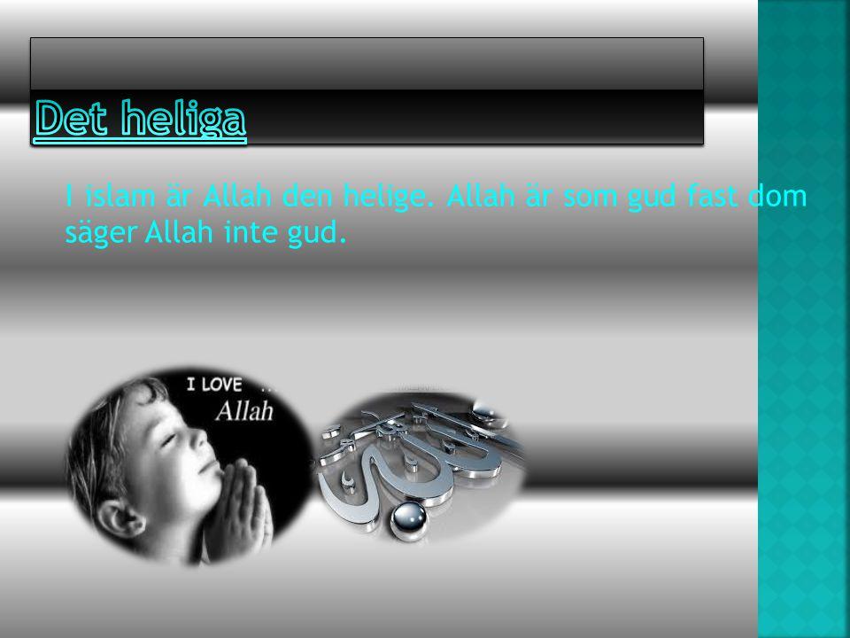 Det heliga I islam är Allah den helige. Allah är som gud fast dom säger Allah inte gud.