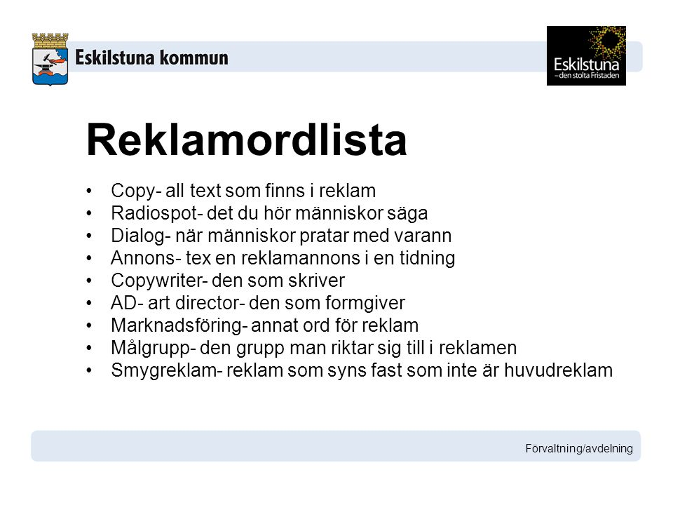 Reklamordlista Copy- all text som finns i reklam