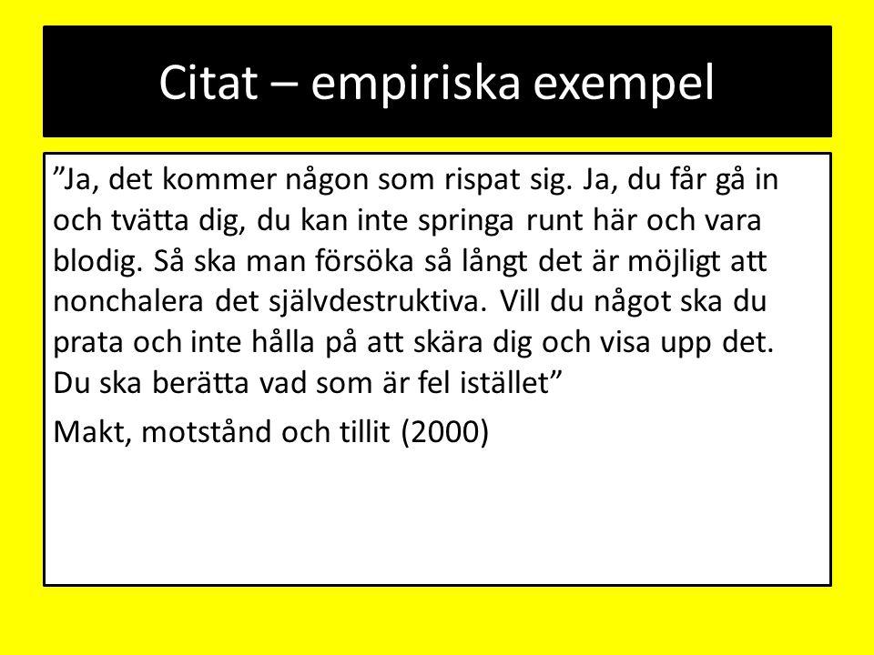 Citat – empiriska exempel