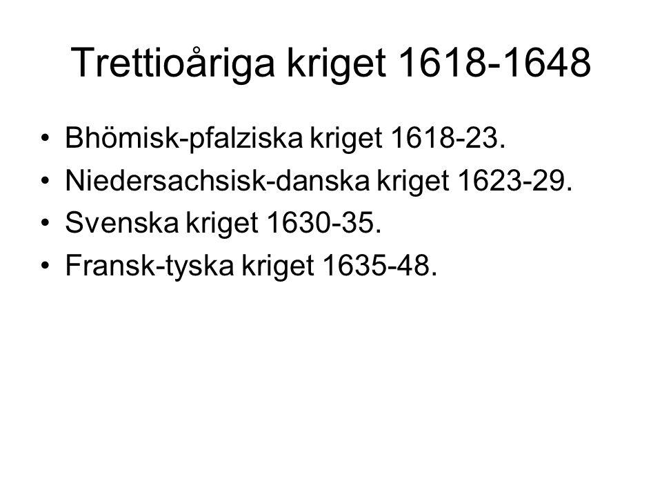 Trettioåriga kriget 1618-1648 Bhömisk-pfalziska kriget 1618-23.