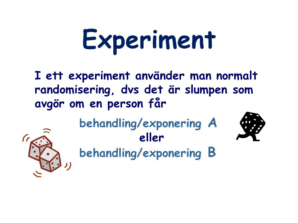 Experiment I ett experiment använder man normalt