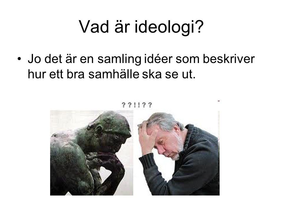 Vad är ideologi Jo det är en samling idéer som beskriver hur ett bra samhälle ska se ut.